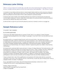 Work Letters Of Recommendation Reference Letter Writing