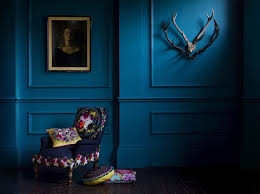 Marks and Spencer new season collection embroidered cushions in dark blue  room www.lab333.