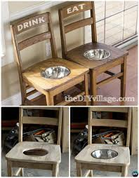 diy dog feeder station from old chairs ways to repurpose old chairs diy ideas
