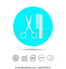 Comb Chart Comb Hair With Scissors Sign Icon Barber Symbol