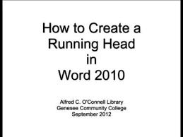 create a running head in word 2010