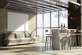 contemporary loft furniture. Contemporary Loft Living Room/ Restaurant Interior With Furniture, Landscape View And Empty Poster. Furniture