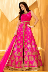 Get Gold And Pink Zari Hand Work Party Wear Wedding Lehenga In Indo