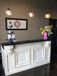 salon reception desk for bar retail counter kitchen by used desks salon reception desk