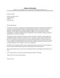 Cover Letter Hospitality Management Cover Letter Template Design