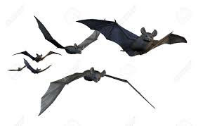 a group of six bats flying 3d render with digital painting stock photo