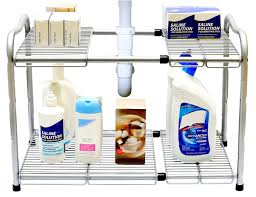 Under The Kitchen Sink Storage Amazoncom Decobros Under Sink 2 Tier Expandable Shelf Organizer