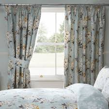 camille fl duck egg luxury pencil pleat curtains pair