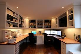 Modern Two Person Desk Home Office With White Cupboard And Dark