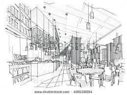 Black and white sketch of the interior design.