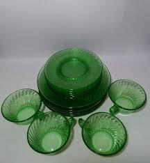 lot 16 vintage green depression glass swirl patterns plates salad cups saucers 1854981305