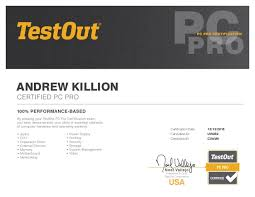 Pc Pro Certification Testout Pc Pro Certification