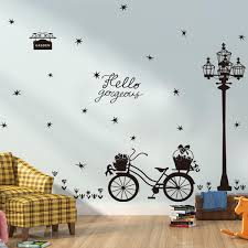 miico bicycle silhouette creative pvc wall sticker home decor mural art removable wall decals