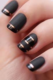 some stripped nail art designs with black