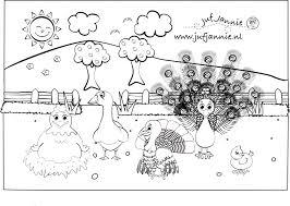 Kleurplaten Kinderboerderij Kip Gans Kalkoen Pauw En Kuiken