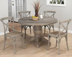 Pedestal Dining Table Set Jofran Burnt Grey Round Pedestal Dining Table In Solid Oak