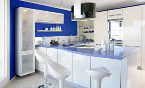 contemporary kitchen colors. Blue And White Modern Kitchen With Barstools Contemporary Colors