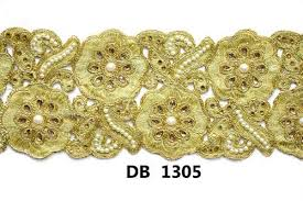 gold ribbon border gold zari embroidery cording dupion net tissue fabric lace trimmings