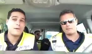 police officers lip synching the lion