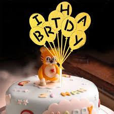 Happy Birthday Cake Topper Novel Balloons Design Letters Design
