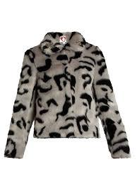shrimps bingo embellished faux fur jacket stone grey and black womens