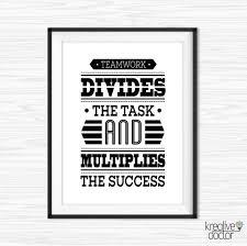 teamwork office wallpaper. Teamwork Quotes, Office Wall Art, Success Printable Quote, Team Player Wallpaper