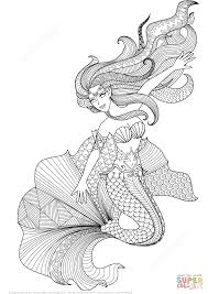 Small Picture Mermaid Zentangle coloring page Free Printable Coloring Pages