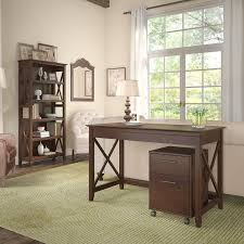 brown writing desk rolling file cabinet and bookshelf combo key west
