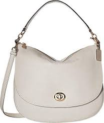 COACH Women s Pebbled Turnlock Hobo Chalk One Size