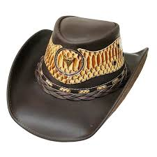 modestone uni cowboy leather hat leather snake skin pattern applique brown