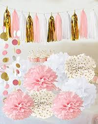 Qian's Party Baby Pink Gold White Baby Shower Decorations for Girl/Party  Decorations First Birthday