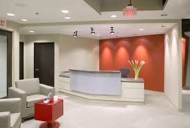 wall color for office. Sandy Coral Wall Color With Contemporary Reception Desk For Elegant Office Area Design Ideas Red Coffee Table O