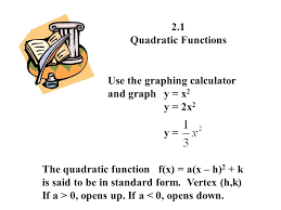 2 1 quadratic functions use the graphing calculator and graph y x2 y