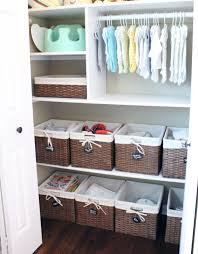 Awesome baby closet organization (Bottom Half) Build one shelf, and use  existing baskets for PJs, Undies, Socks, etc. Also works for new room.