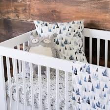 gray and white dots and stripes crib bedding blue woodland mountains crib bedding