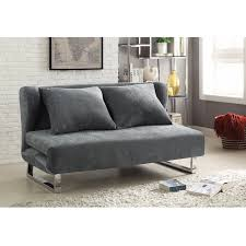 Sofa Bed Modern Design Modern Velvet Couch Bed Futon With Winged Back Design In Gray