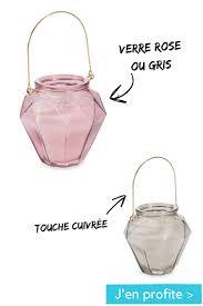 bougie lanterne en verre rose ou gris facettes maisons du monde with jarre maison du monde