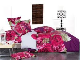 hot pink purple rose print duvet cover full queen designer bedding set