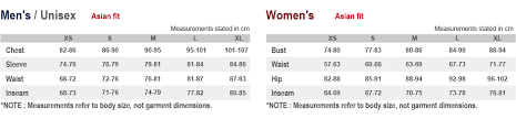 Asian Women S Size Chart Sizing Chart Montbell Euro