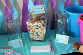 jar sea shell decor ideas mermaid party seashell game must have mom