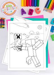 All printable minecraft coloring pages are blocky and pixelated, the same as the whole minecraft world. Fun And Adventurous Free Minecraft Coloring Pages For Kids