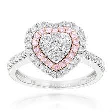 designer rings unique white pink diamonds heart ring for women 14k gold 1ct white image