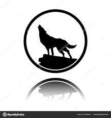 Vlk Jednoduché Ikony černá Ikona Zrcadlový Odraz Bílém Pozadí