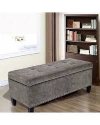 grey tufted storage bench. Adeco Light Grey Microfiber Rectangular Tufted Storage Bench Ottoman