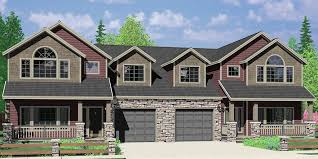 popular house plans. D-609 Craftsman Luxury, Duplex House Plans, With Basement, And Shop, Popular Plans R