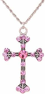 YAZILIND Jewelry Pink Cross Shape Chain Pendant ... - Amazon.com