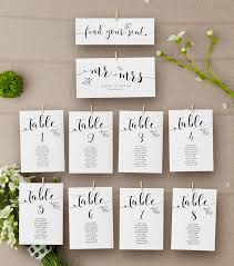 Table Number Chart Wedding Wedding Seating Chart Template Sophie Floral Kraft Rustic