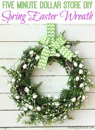 five minute dollar diy spring easter wreath at thehappyhousie com