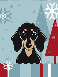 ines treasures bb1711gf winter holiday smooth black and tan dachshund garden size flag small