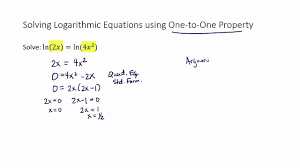 solve log equation using one to one property